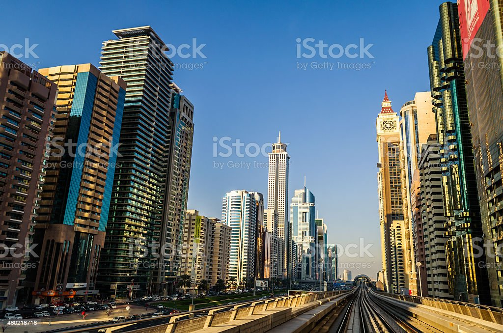 Dubai Metro at Sheik Zayed Road stock photo