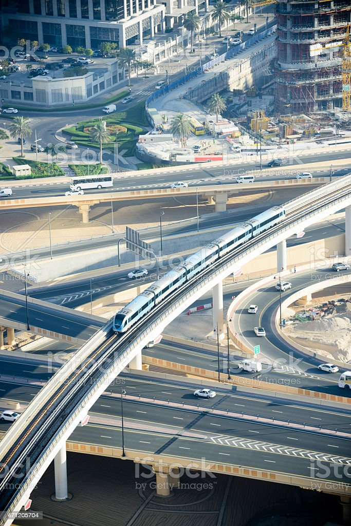 Dubai Metro flyover from above stock photo