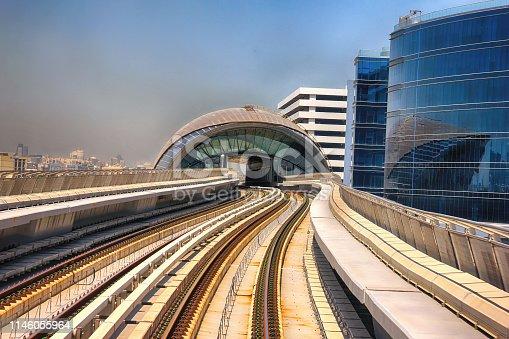Dubai Metro high-speed rail network. Metro in Dubai city view