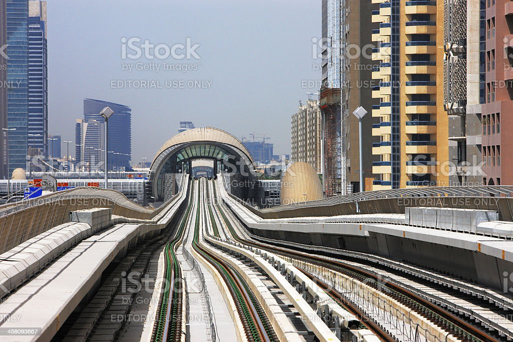 Dubai Metro line looks like an undulating curve stock photo