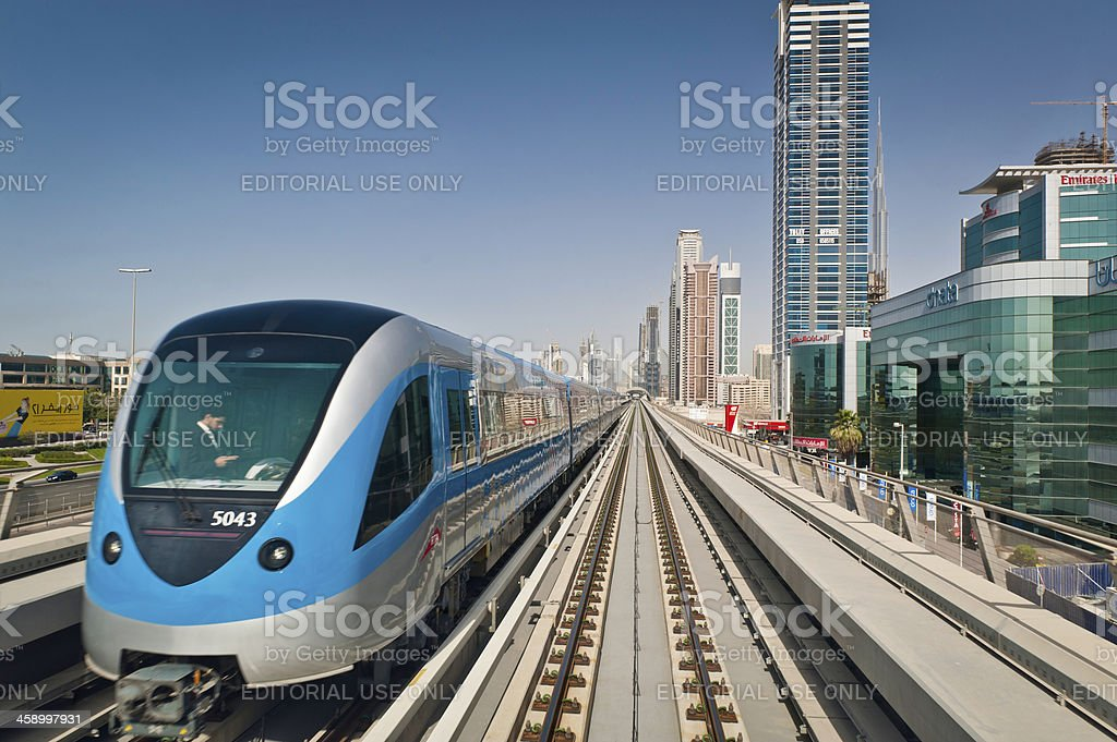 Dubai Metro rapid transit train stock photo