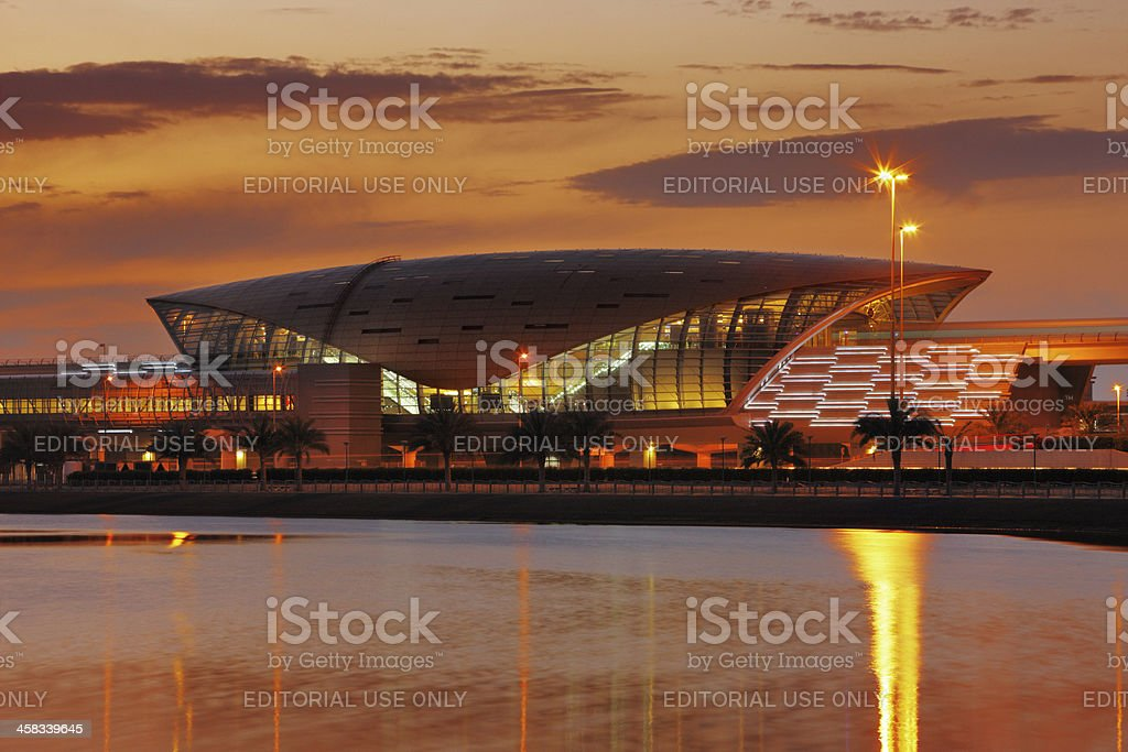 Dubai Metro Station at dusk stock photo