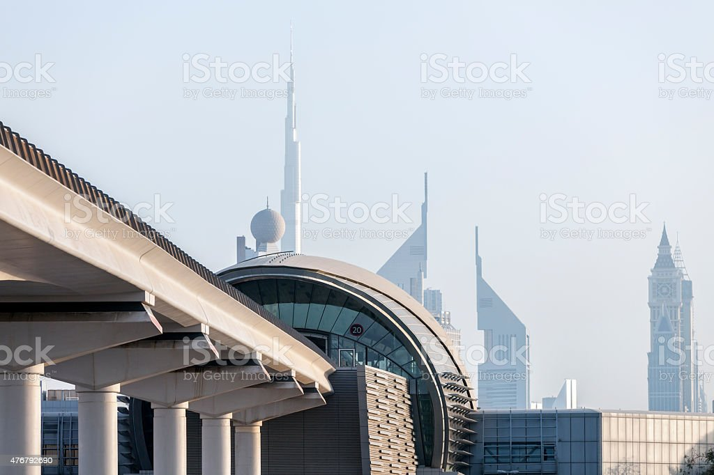Dubai Metro Station, Elevated Railway Track, Skyscrapers, United Arab Emirates stock photo