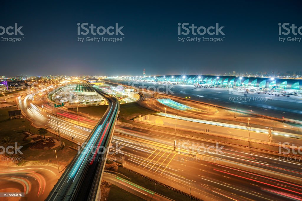 Dubai Metro to Airport stock photo
