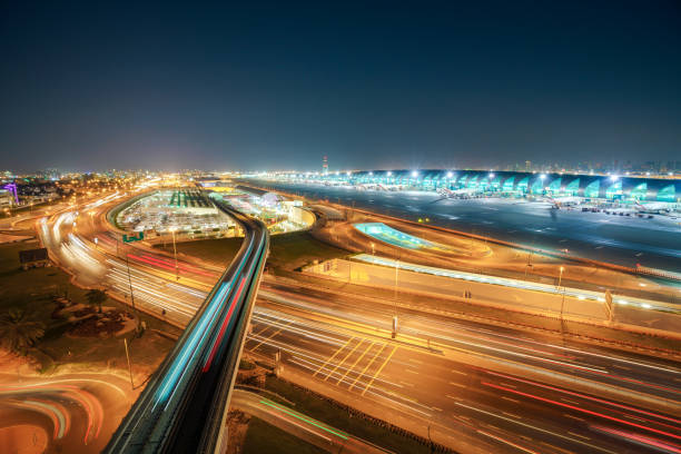 dubai metro to airport - train vehicle stock photos and pictures