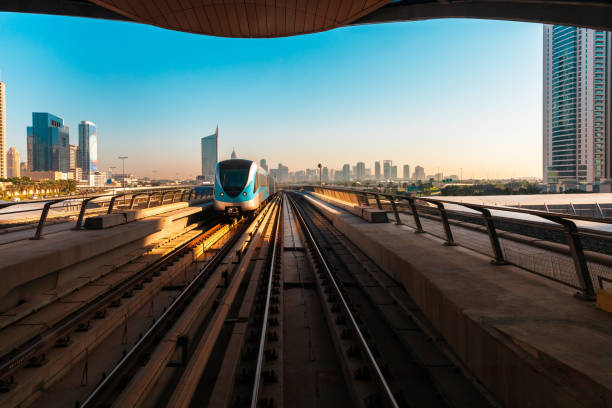 Dubai Metro train, UAE stock photo