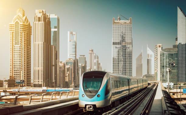 Dubai Metro transportation with skyscrapers