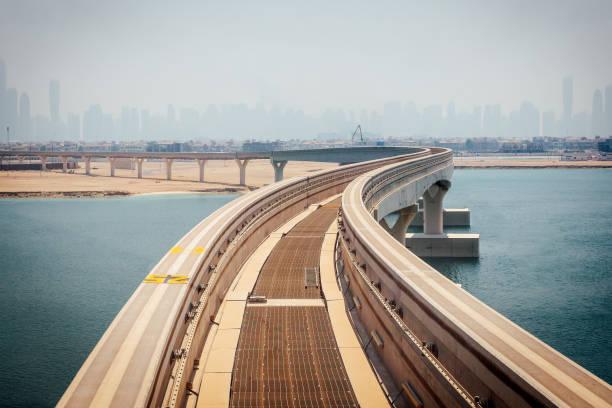 Dubai Monorail with distant skyline Dubai Monorail mit Blick auf Schiene und Skyline am Horizont fluchtpunktperspektive stock pictures, royalty-free photos & images