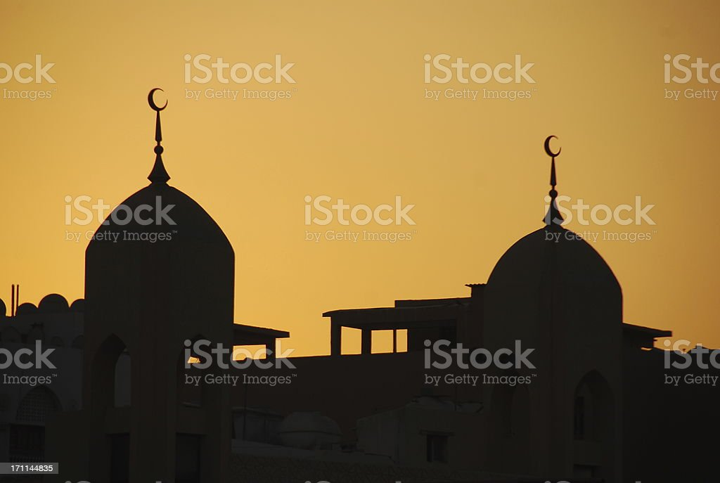 Dubai Mosque Domes at Sunset royalty-free stock photo