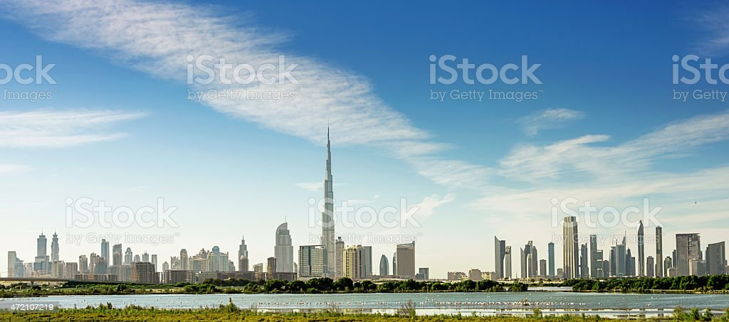 Dubai Panorama Skyline with Burj Khalifa royalty-free stock photo