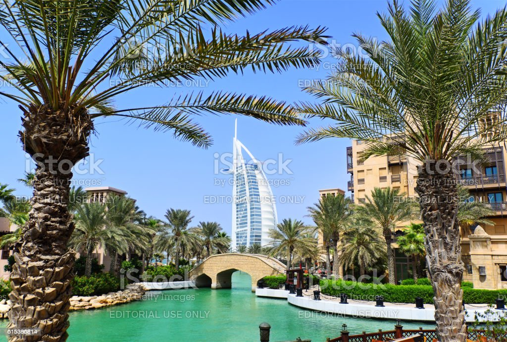 Dubai Seaside Garden View stock photo
