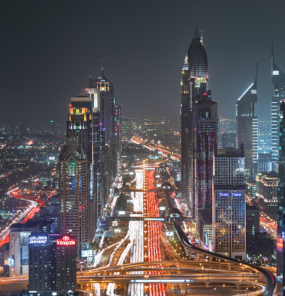 Dubai Sheikh Zayed Road near Dubai Downtown Closer Look shows the density of the roads and the light trails of the cars