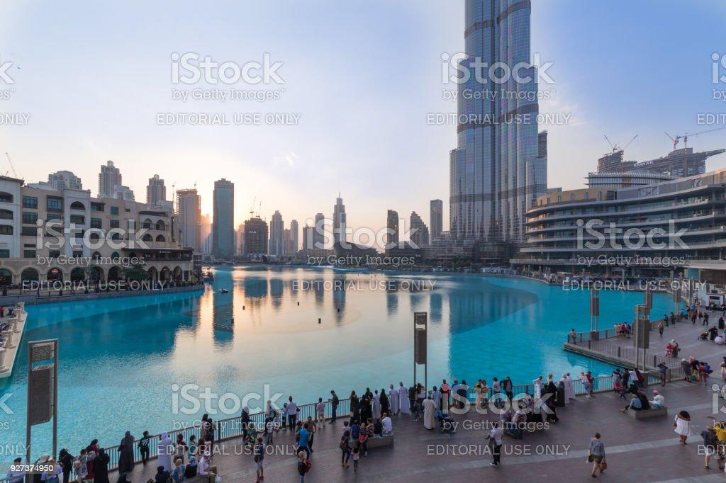 Dubai shopping mall and Burj khalifa stock photo