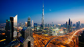 Dusk view of awesome Dubai's sky line, Aerial view of the city at blue hour.