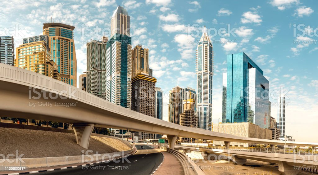 Dubai skyline and architecture modern and fast growth of a business city stock photo