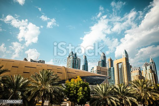 Dubai skyline and architecture modern and fast growth of a business city