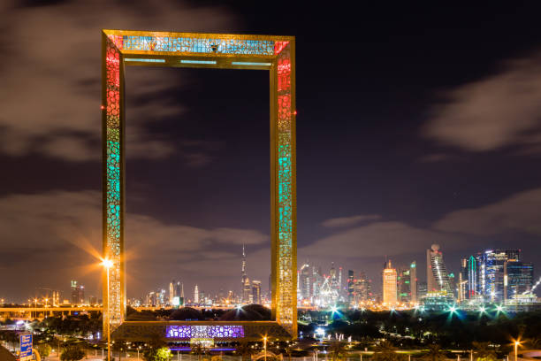 Dubai skyline and the Frame Dubai skyline and the Frame at night dubai stock pictures, royalty-free photos & images
