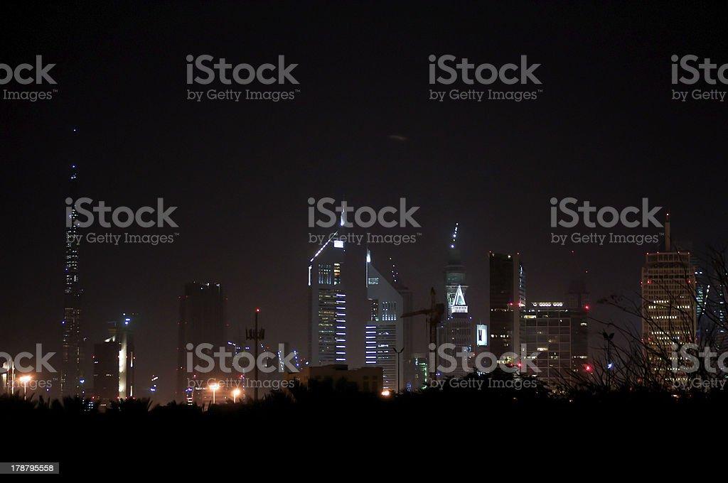 Dubai skyline at night royalty-free stock photo