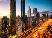 Dubai, Cityscape, City, City Street,Dusk, Highway