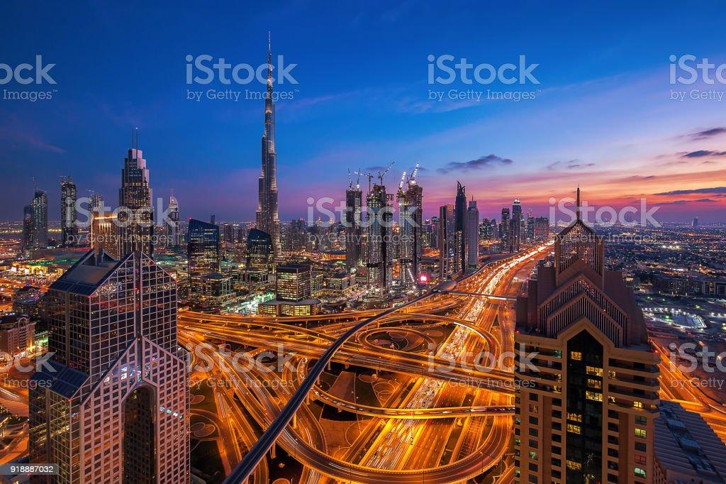 Dubai skyline at sunset stock photo