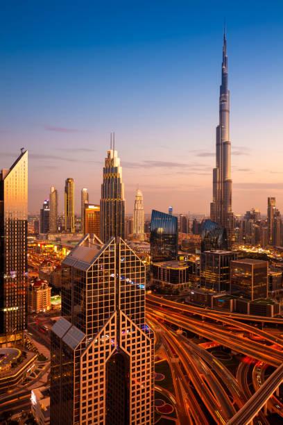 Dubai skyline at sunset, UAE stock photo