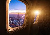 Dubai skyline from the airplane
