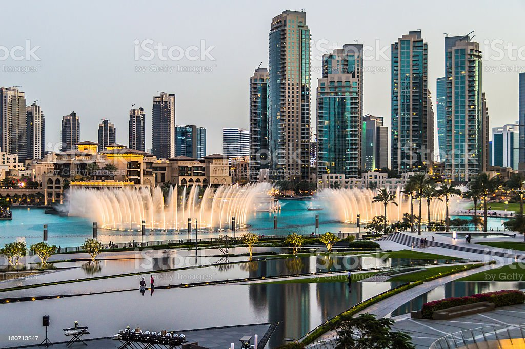 Dubai Skyline from the Burj Khalifa royalty-free stock photo