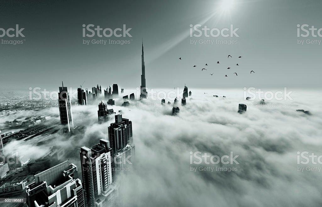 Dubai Skyline in fog stock photo