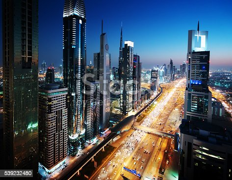512697874 istock photo Dubai skyline in sunset time, United Arab Emirates 539232480