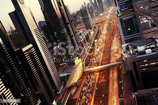 512697874 istock photo Dubai skyline in sunset time, United Arab Emirates 540594942