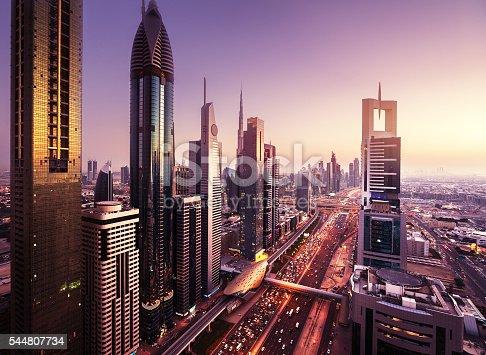 512697874 istock photo Dubai skyline in sunset time, United Arab Emirates 544807734