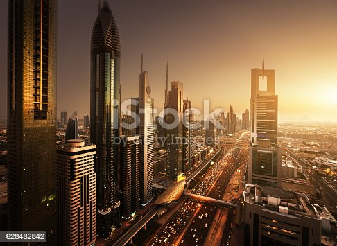 istock Dubai skyline in sunset time, United Arab Emirates 628482842
