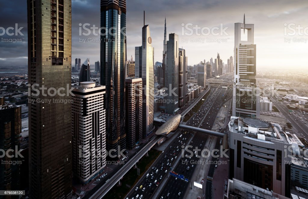 Dubai skyline in sunset time, United Arab Emirates royalty-free stock photo