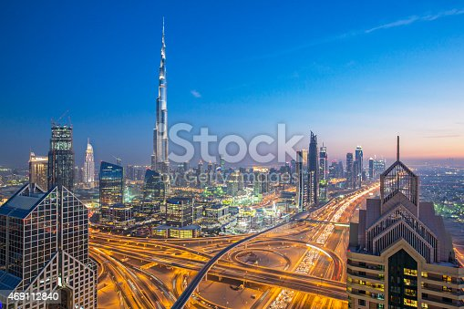 High up view of Dubai and its roads at dusk.