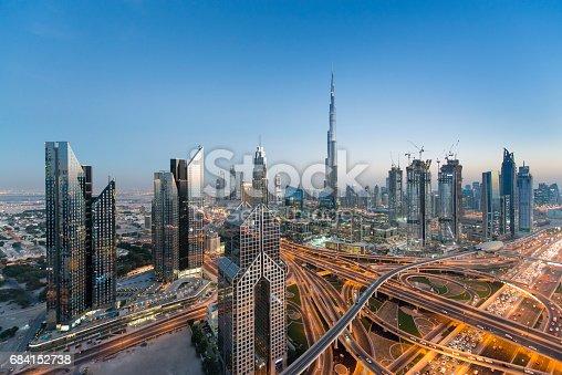 Dubai skyline seen during the evening.