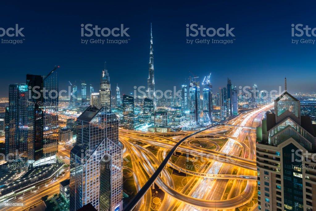 De skyline van Dubai royalty free stockfoto