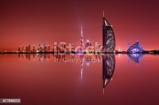 istock Dubai skyline reflection, Dubai, United Arab Emirates 527899020