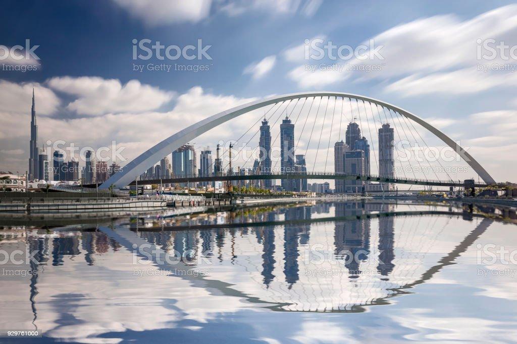 Dubai Skyline Reflexion mit Burj Dubai, Vereinigte Arabische Emirate – Foto