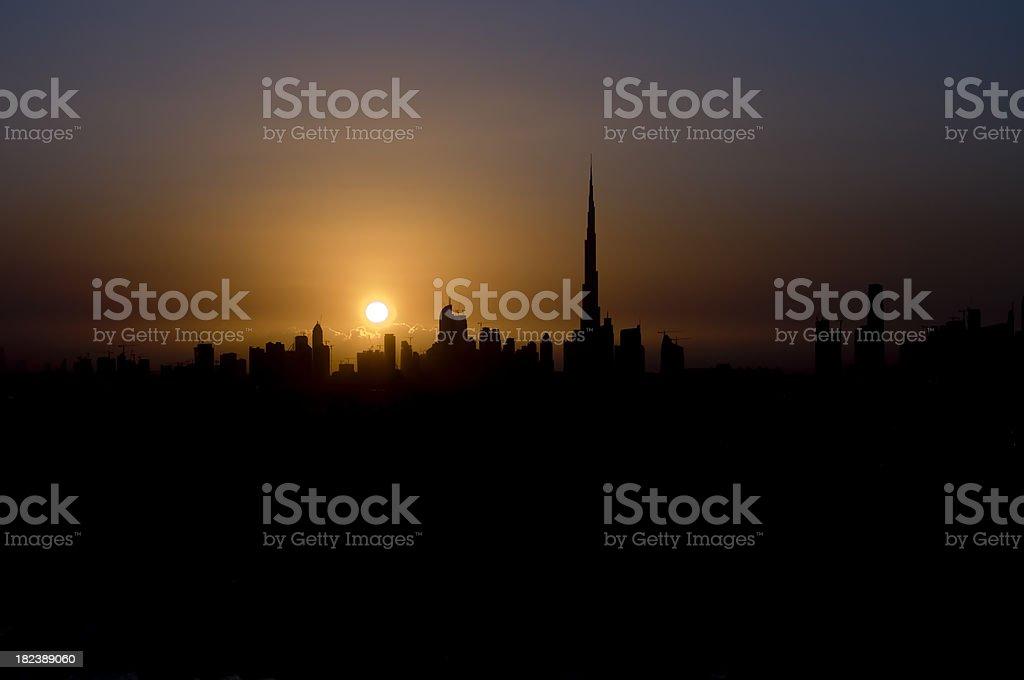 Dubai Skyline Sunset royalty-free stock photo