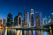 istock Dubai skyline view from the Marasi marina in city Business bay downtown area in the UAE 1309800161