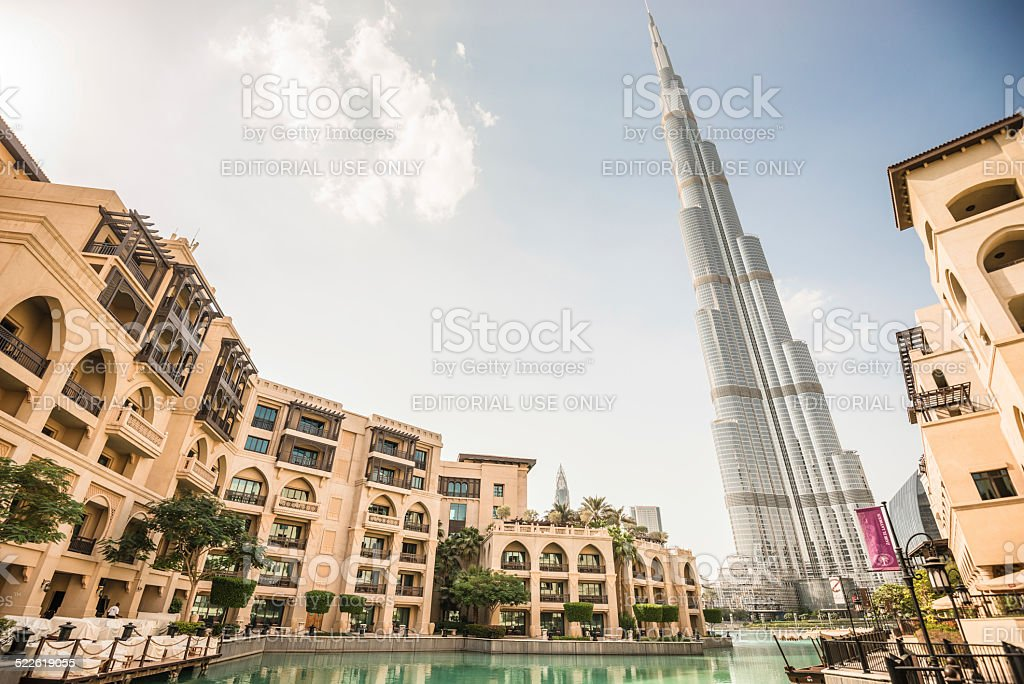 dubai skyline with burj khalifa stock photo