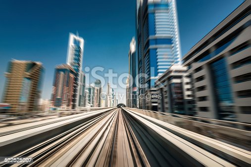 dubai skyline with downtown on the metro