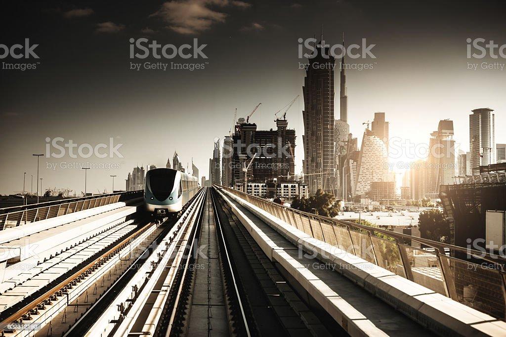 dubai skyline with downtown on the metro stock photo