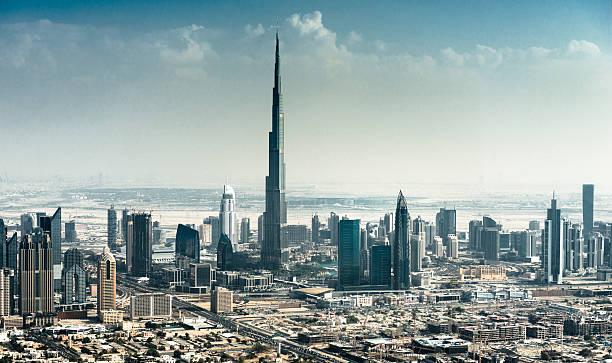 dubai skyline with downtown dubai skyline with downtown burj khalifa stock pictures, royalty-free photos & images
