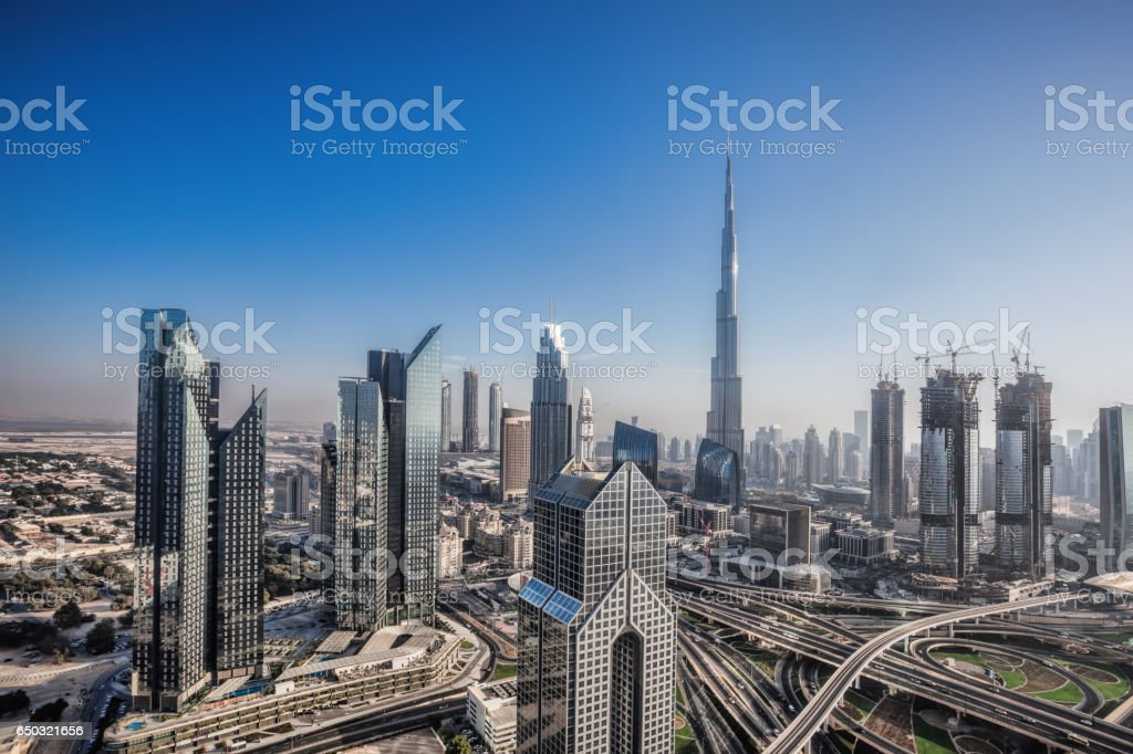 Dubai skyline with futuristic architecture, United Arab Emirates stock photo