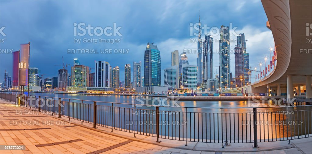 Dubai - Skyline with over the new Canal and Downtown. royalty-free stock photo