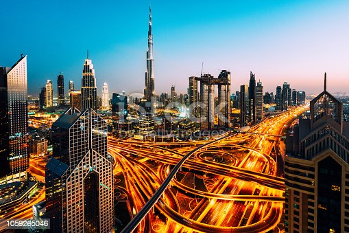 Dubai skyline with traffic junction and Burj Khalifa