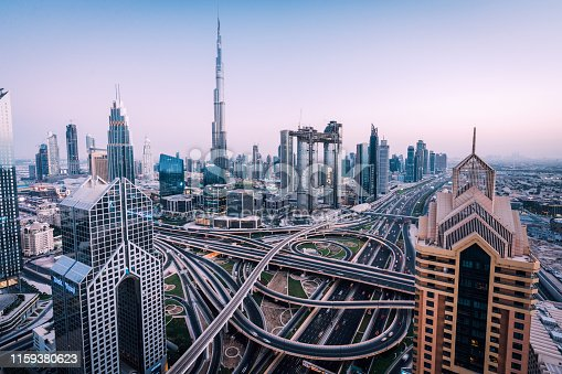 Dubai skyline with traffic junction