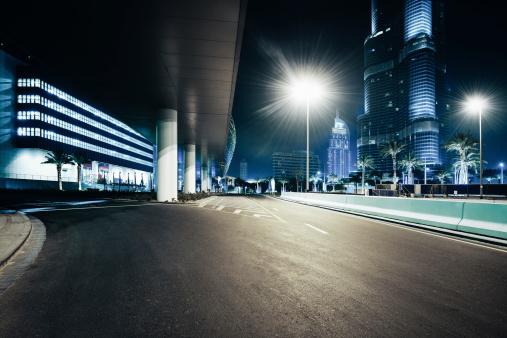 Dubai skyscrapers nightshot