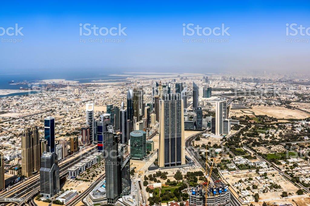 Dubai Skyscrapers top view, Dubai, United Arab Emirates stock photo